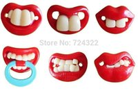 Cheap Hot!50pcs Funny Dummy Prank Baby Pacifier Novelty Teeth Children Soother Nipple chupeta pacifier clips chupetas bebe Free shipping