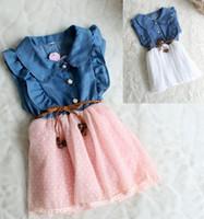 Girl Summer 2T-5T 8 pcs lot Princess Girl denim pleaded lace skirted Tutu dress Party Dress 2 colors 4 size for 2t-5t