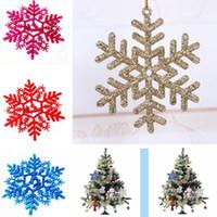 acrylic sheet windows - 6Pcs Bag Glitter Snowflake Sheet Mixed Color Christmas Tree Window Glass Decoration Xmas Party Hanging Ornament