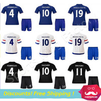 chelsea - 2016 Kids Chelsea Jersey Black Chelsea FC Camisetas infantis HAZARD DIEGO COSTA OSCAR Soccer Jersey Chelsea Youth football Sets
