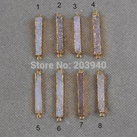 Wholesale New Natural rectangle druzy agate connectors with k gold electroplated on edged agate druzy connectors for jewelry making