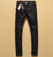 Wholesale Hot Brand Balmain Black Jeans for Men Knee fold coating waxing locomotive jeans trousers Motorcycle Pants