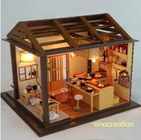 bar furnitures - Wooden Toy DIY House Sakura Sushi Bar Novelty Miniature Model Kit With Music Furnitures For Xmas New Year Gift