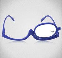 Wholesale 100pcs Patent Red Magnifying Makeup Reading Glasses Make Up eye glasses Flip up eyeglasses For Applying Make Up
