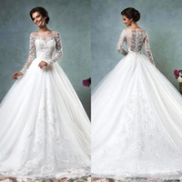 Cheap 2016 Amelia Sposa Arabic Long Sleeves Wedding Dresses Sheer Bateau Neck Covered Button Back Tulle Lace Appliques Wedding Bridal Gowns AS2020