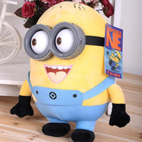 Wholesale 2015 Hot Cartoon Movie Despicable Me Figure Minions Plush Toys D Plastic Eyes Yellow Doll Soybeans For Kids Gifts cm
