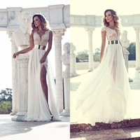 Wholesale Selling Gowns Online - Hot Sell 2015 Wedding Dresses Online Sexy Beaded Pearls V Neck Elegant Bling Sash A Line High Side Slit Ivory Chiffon Beach Bridal Gowns