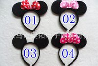 animal hair bows - New hot sale Children Mickey and Minnie mouse ears headband girl boy Hair Sticks kids birthday party supplies decorations