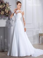 Cheap cheap wholesale Bateau Gauze No back of a chair Long sleeve Beach White Sweep Brush Bridal Gowns high quality 2016 New