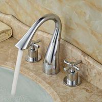 bath house designs - Unique Design Cross Head Handle Bath House Basin Water Faucet Ceramic Valve Polished Chrome Lavatory Mixer Taps