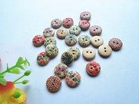 Wholesale 100PCS wood printing button mm mix color