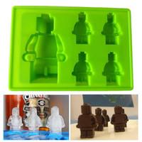 Wholesale Random Color Silicone Ice Cube Tray Mold Tools Maker Ice Cream Molds LFGB Robot Lego DIY Silicone Ice Mould
