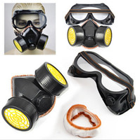 Wholesale 2pc Spray Paint Twin Cartridge Respirator Mask Goggles Paint Kit Fumes Kept Out