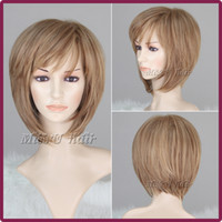 ash wig - 35cm inch Women Nice short Natural straight wig Ash blonde Stylish lady hair wigs synthetic