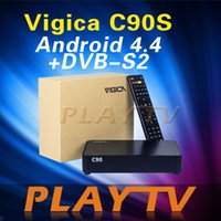 Cheap [Genuine]VIGICA C90S DVB-S2 Digital Satellite Receiver Support CCcam Newcamd Biss & Amlogic S805 Quad Core 1G 8G Android 4.4 TV Box
