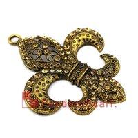 fleur de lis - Antique Bronze DIY Necklace Pendant Scarf Accessories Metal Rhinestone Fleur De Lis Jewelry Scarf Pendant AC0223C