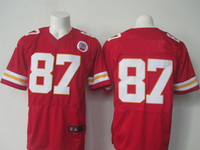 Wholesale Kansas City travis red and white color men football jersey size drop ship