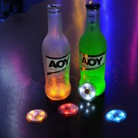 Wholesale 10000PCS HHA489 LED Flashing Bottle Coaster Sticker For Drinks Glasses LED Night lights Club And Bars Beer Party Decoration Christmas lamps