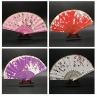 chinese fans - Chinese Silk Lace Folding Hand Fans Wedding Dancing Party Decoration Flower Summer Fan Craft