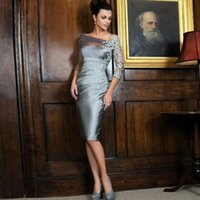 Wholesale Sheath Long Sleeves Short Mother Of The Bride Groom Dresses With Appliqiues EG Knee Length Satin Formal Wear Evening Dress