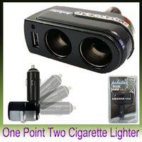 Wholesale 1PCS Car cigarette lighter socket car charger cigarette lighter one with two USB ports with car cigarette lighter