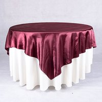 table covers - 10pcs Satin Table Overlay quot x quot Table Cloth for Wedding Decoration Table Cover Square Table Cloth For Wedding Supplies Custom made Size