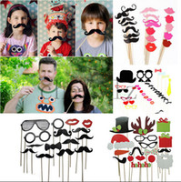 Wholesale Christmas Decoration Photo Booth Props Glasses Crown Hat Mustache On A Stick Wedding Party Mask Decor C1396