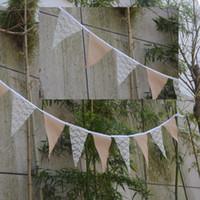 Wholesale DIY Hemp Lace Banner Triangle Flag Triangle Sackcloth Flag Craft Decoration Vintage Shabby Chic Hessian Burlap Banner Rustic Wedding Bunting