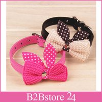 Wholesale Knit Bowknot Adjustable PU Leather Dog Puppy Pet Collars Necklace