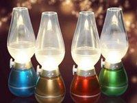 Wholesale 2016 novelty LED Blow Light Table Light Desk Lamp W Vintage Kerosene Lamp Style Adjustable Brightness Energy saving Night USB rechage