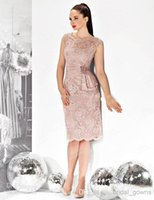 Wholesale Custom Plus Size Grooms Lace Mother Of The Bride Dresses Gold Gowns weddings Cap Sleeve Tea Length Sleeve Short Beaded Knee Length