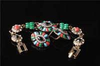 Wholesale Bohemian ethnic style earrings bracelet jewelry sets seven color ancient gold jewelery Earrings Bracelet