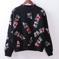 baby magic fleece - Magic New autumn and winter hoodies eys letter BABY printed fleece inside long sleeved women s clothing sweatshirt C146