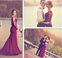 women sexy robe - Mermaid Burgundy Prom Dresses with See Through Long Sleeves Sweetheart Lace Appliques Floor Length robe Videos Evening Women Gowns