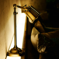 art libraries - Creative Flexible Bronze Vintage Library Table Lamp Bedside Desk Light Home Shade Lighting Office Reading Table Lights