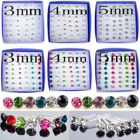 Stud Unisex Acrylic, Resin, Lucite Hot Fashion Jewelry Lot 288pcs(6boxes) Clear Crystal Earring Studs Box Allergy Mens Women Gift Cheap Free Ship [E179 E180*1]