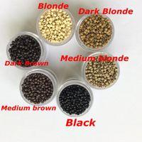 1000pcs / Bouteille 2.9mmx1.6mmx2.0mm Micro cuivre silicone ring nano lien perles Extensions de cheveux outils 7 couleurs