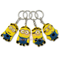 Wholesale Cute Boys Photos New - Cartoon 2D Key cover 100PCS Despicable Me minons llaveros Cute key holder New Keychains Necklaces Pendants,Creative Lovely Keyrings Chains