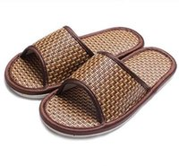 Wholesale In Stock Sandals summer flat slippers Bamboo cane straw slippers Pure natural slippers DHL