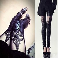 big leg pants - Fashion Lace Splicing Legging Pant Women Big Girl s Leather Splicing Slim Legging Pant Fashion Leather Leggings Free Size