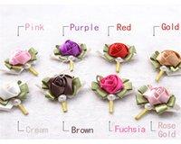 Cheap In Stock Handmade Flower Brooch Bouquet Artificial Beads Pearls Silk Rose Crystal Bouquet wedding accessories