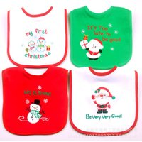 Wholesale Father Christmas Newborn Waterproof Baby Burp Cloths Towel Cotton Santa Claus Baby Bibs Y