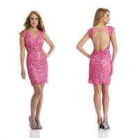 Cheap Pink Lace Backless 2015 Prom Dresses With Crew Neckline Capped Sleeves Sheath Party Prom Dresses Short Cocktail Dresses