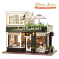 Wholesale 2015 New Diy Large Wodden Miniature coffee shop Doll House Creative D Puzzle Model Toys Doll Houses Birthday Christmas Gift