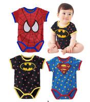 Wholesale Kid Baby Polkadot Newborn Bodysuits Rompers Toddler Crossfits Cute Superman Batman Spiderman Print Patchwork Cartoons Clothing