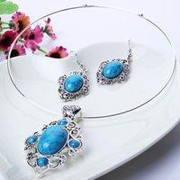 Wholesale Ornate Women Necklace Earring Set Imitation Turquoise Pendant Necklace Trendy Dangle Eardrop TL9456
