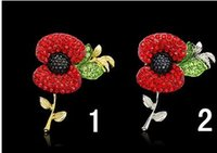 Wholesale Red Crystal Beautiful Poppy Flower Brooch gold sliver design