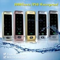 Wholesale 8000Users outdoor keypad door lock IP68 Weatherproof Touch Screen Door Entry bit Wiegand Output Stainless steel LED