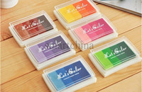 Wholesale 6pcs DIY Colorful Craft Ink pad Cartoon Stamp Gradual Change Inkpad Stationery Gift