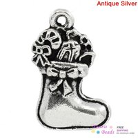 antique candy tins - Charm Pendants Christmas Candy Cane Stocking Antique Silver x15mm K10062